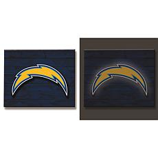 Officially Licensed NFL Backlit Wood Plank Wall Sign - Chargers