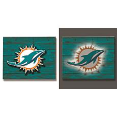 Officially Licensed NFL Backlit Wood Plank Wall Sign - Dolphins