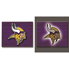 Officially Licensed NFL Backlit Wood Plank Wall Sign - Vikings