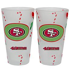 Officially Licensed NFL Christmas Day 16 oz. Pint Glass 2pk - 49ers