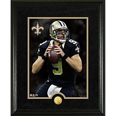 Officially Licensed NFL Drew Brees Gold Coin Canvas Photo Mint