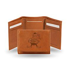 Officially Licensed NFL Embossed Leather Trifold - Browns