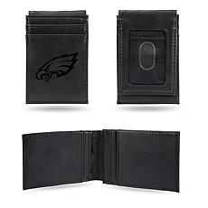 Officially Licensed NFL Engraved Black Front Pocket Wallet - Eagles