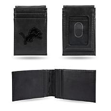 Officially Licensed NFL Engraved Black Front Pocket Wallet - Lions