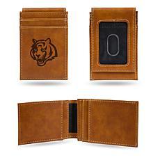 Officially Licensed NFL Engraved Brown Front Pocket Wallet - Bengals