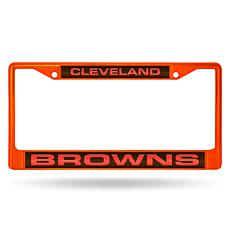 Officially Licensed NFL Laser-Cut Chrome License Plate Frame -  Browns