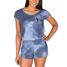 Officially Licensed NFL Marina Ladies Knit SS Romper - Texans