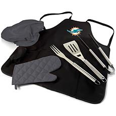 Officially Licensed NFL Picnic Time Apron Tote Pro Grill Set Dolphins
