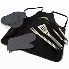 Officially Licensed NFL Picnic Time Apron Tote Pro Grill Set Chargers