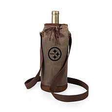Officially Licensed NFL Picnic Time Waxed Canvas Wine Tote- Pittsbu...