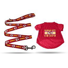Officially Licensed NFL Small Pet T-Shirt with 4' Leash - Chiefs
