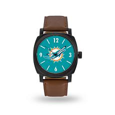 "Officially Licensed NFL Sparo ""Knight"" Faux Leather Watch - Dolphins"