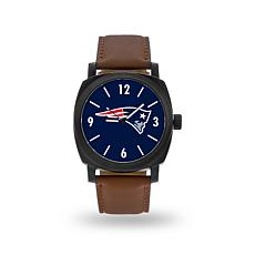 """Officially Licensed NFL Sparo""""Knight""""Faux LeatherWatch - Patriots"""