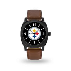 "Officially Licensed NFL Sparo ""Knight"" Faux Leather Watch - Steelers"