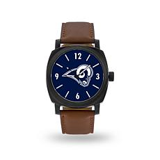 """Officially Licensed NFL Sparo""""Knight""""Faux LeatherWatch - Rams"""