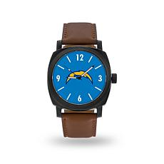 "Officially Licensed NFL Sparo ""Knight"" Faux Leather Watch - Chargers"