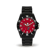 Officially Licensed NFL Spirit Black Rubber Sports Watch - Buccaneers