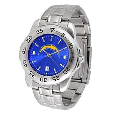 Officially Licensed NFL Sports Steel Watch - Los Angeles Chargers