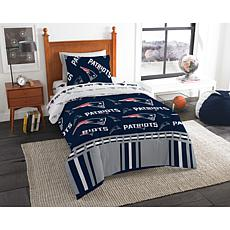Officially Licensed NFL Twin Bed In a Bag Set - New England Patriots