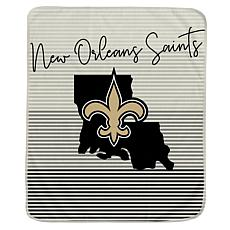 Officially Licensed NFL Ultra Fleece State Stripe Throw Blanket-Saints