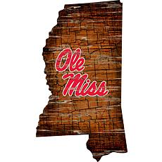 Ole Miss State Distressed State with Logo