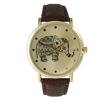 Olivia Pratt Elephant Brown Faux Leather Strap Watch