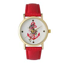 Olivia Pratt Goldtone Anchor Dial Red Faux Leather Strap Watch