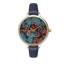 Olivia Pratt Goldtone Butterfly Dial Navy Faux Leather Strap Watch