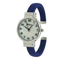 Olivia Pratt Mother-of-Pearl Dial Navy Bangle Bracelet Watch