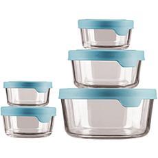 Oneida TrueSeal 10-Pc Round Glass Food Storage Set w/ Mineral Blue Lid