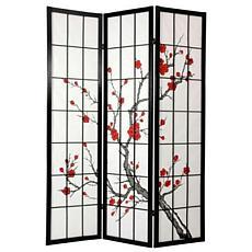 Oriental Furniture Cherry Blossom Shoji Screen - Black