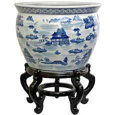Oriental Furniture Landscape Blue & White Fishbowl