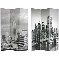 Oriental Furniture New York Scenes 3-Panel Divider