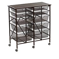 Origami 10-Drawer Rolling Cart with Wood Top