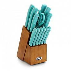 Oster Evansville 14 piece Stainless Steel Cutlery Set with Turquois...