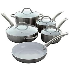 Oster Montecielo 9 Piece Cookware Set in Metallic Titanium