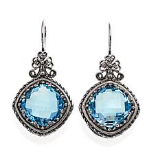 Ottoman 15.6ctw Blue Topaz Sterling Silver Bow-Design Drop Earrings
