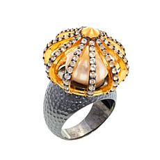 "Ottoman Black and Goldtone Cultured Freshwater Pearl ""Sultan"" Ring"