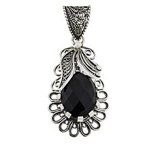Ottoman Black Spinel Leaf Design Sterling Silver Pendant