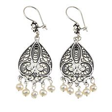 Ottoman Jewelry 4-5mm Cultured Pearl Sterling Silver Filigree Earrings