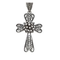 Ottoman Jewelry Sterling Silver Beaded Cross Pendant