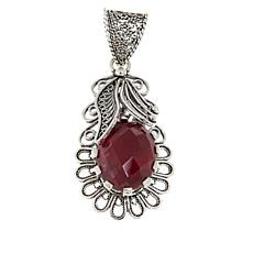 Ottoman Red Corundum Leaf Design Sterling Silver Pendant