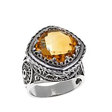Ottoman Silver 5.2ct Cushion-Cut Citrine Ring