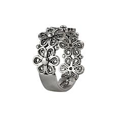 Ottoman Silver Filigree Daisy Design Band Ring