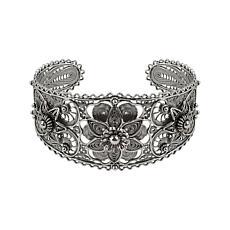 Ottoman Silver Filigree Triple-Daisy Design Cuff