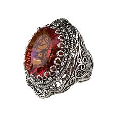 Ottoman Silver Gemstone Double-Layer Filigree Heart Ring