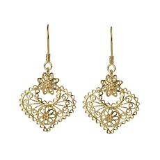 Ottoman Silver Gold-Plated Filigree Heart Drop Earrings