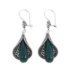 Ottoman Silver Green Corundum Floral Drop Earrings