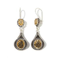 Ottoman Silver Jewelry 10.4ctw Citrine Drop Earrings