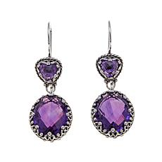 Ottoman Silver Jewelry 16.5ctw Amethyst Crown Earrings